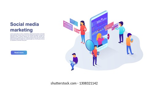 Statistics and analytics of the landing page in social networks, visual data, digital marketing. Marketing concept for website and mobile website promotion services. Vector illustration