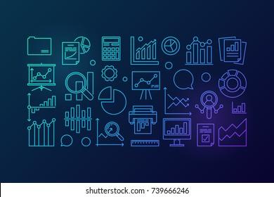 Statistics blue concept line illustration or banner on dark background