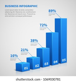 Statistics business 3d graph bar chart. Vector infographic with steps and options. Chart and graph, web data report and presentation illustration