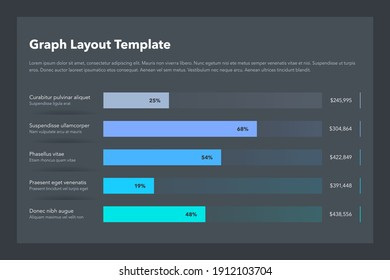 Statistics column horizontal graph layout template with place for your content - dark version. Flat design, easy to use for your website or presentation.