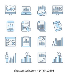 Statistics, Data report and Analytics review related blue line colored icons.