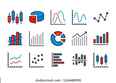 Statistics and diagram color line icons. Data chart and graph vector linear colorful icon set. Isolated icon collection on white background.