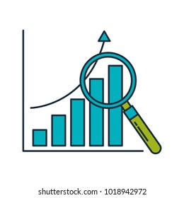 statistics graphic with magnifying glass