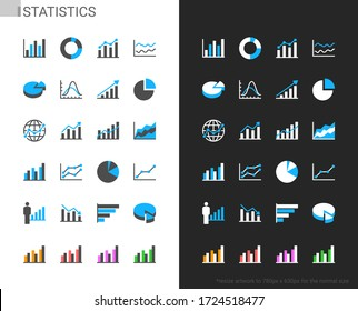 Statistics icons light and dark theme. 48x48 Pixel perfect.