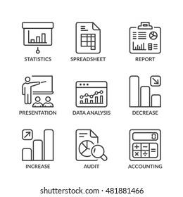 statistics icons set, thin line, black color