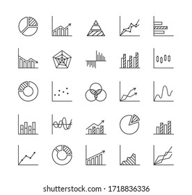 Statistics - line icon set. Collection of 25 graphs/charts/diagrams. Infographics, data analysis, stats tools. Isolated on white background. Vector illustration.