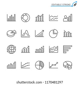 Statistics line icons. Editable stroke. Pixel perfect.