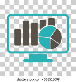 Statistics Monitoring icon. Vector illustration style is flat iconic bicolor symbol, grey and cyan colors, transparent background. Designed for web and software interfaces.