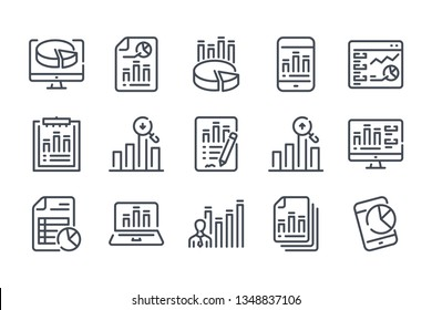 Statistics related line icon set. Data report vector linear icons.