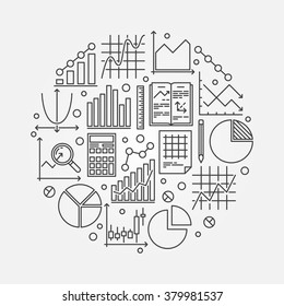Statistics round illustration - vector symbol of data analysis or analytics. Business statistics background made with graph, bar, pie, diagram thin line signs