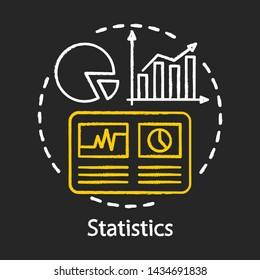 Statistics study, scientific research chalk concept icon. Chart, rising graphs thin line art idea. Analytics, metrics tools, data visualization, infographics. Vector isolated chalkboard illustration