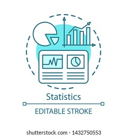 Statistics study, scientific research concept icon. Pie chart, rising graphs idea thin line illustration. Analytics, data visualization, metrics tools. Vector isolated outline drawing. Editable stroke