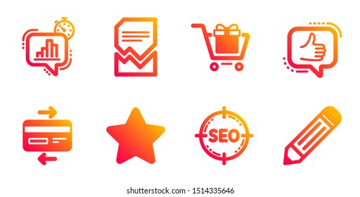 Statistics timer, Credit card and Shopping cart line icons set. Seo, Like and Corrupted file signs. Star, Pencil symbols. Growth chart, Bank payment. Technology set. Vector