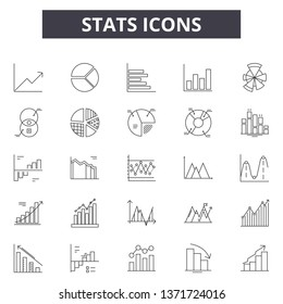Stats line icons, signs set, vector. Stats outline concept, illustration: stats,chart,graph,business,diagram,growth