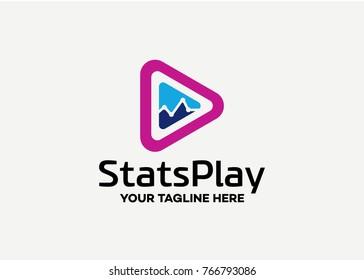 Stats Play Logo Template Design Vector Emblem, Creative Symbol, Icon