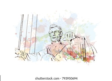 The statue of Abraham Lincoln sitting in a chair at Lincoln Memorial in Washington. Watercolor splash with sketch illustration in vector.