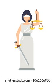 Statue of ancient Goddess of Justice Lady Themis. Woman Themis with sword in hand and scales of justice. Symbol truth, justice, balance, judgment, observance of law, tribunal. Vector illustration.