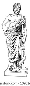 Statue of Asclepius holding a snake twisted on stick, vintage line drawing or engraving illustration.