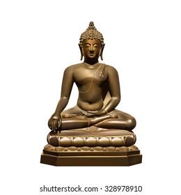 Statue of Buddha Subdoing Mara on white background