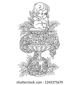 Statue of Cupid with a heart and an arrow in a large garden flowerpot with roses outlined for coloring