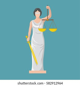 Statue of god of justice Themis. Femida with scales and sword. Symbol of law and  justice. Flat icon vector illustration.