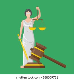Statue of god of justice Themis and wooden judge gavel. Justice hammer sign.. Femida with scales and sword. Symbol of law and  justice. Flat icon vector illustration.