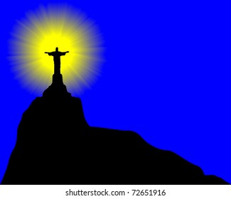 statue of Jesus Christ on a blue background