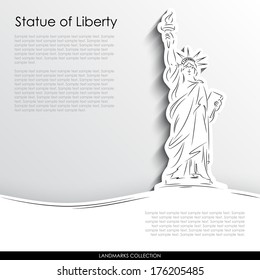 Statue of Liberty abstract silhouette on white paper background. Landmarks vector collection.