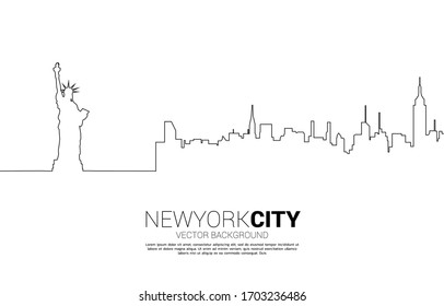 Statue of Liberty and city background from single line.Background concept for New York city.