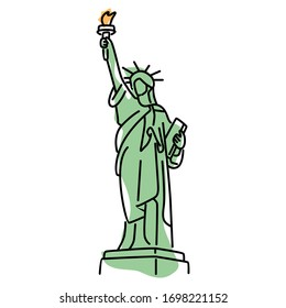 Statue of Liberty Color Vector. Isolated on White background