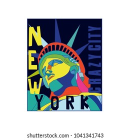 Statue of liberty Colorful vector print.