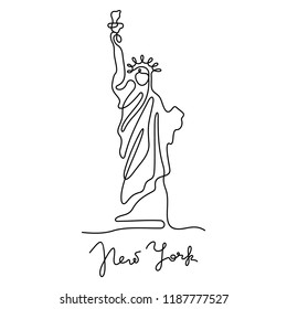 Statue of Liberty continuous line illustration