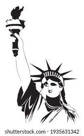 Statue of liberty in a continuous line pattern