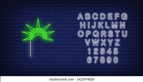 Statue of Liberty crown with stick neon sign. New York, souvenir, 4th of July. Vector illustration in neon style for festive independence day banners, light billboards, posters