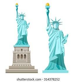 Statue of Liberty design isolated on white background, vector illustrations