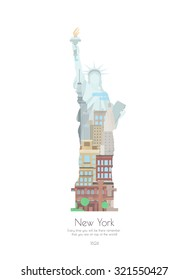 Statue of Liberty in double exposure style. Vector poster of New York