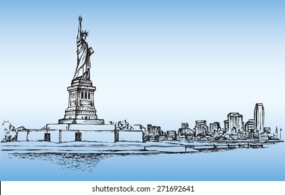 Statue of Liberty is famous colossal woman figure on Island in NY Harbor. Vector monochrome freehand ink drawn background sketch in art scribble antique style pen on paper with space for text on sky