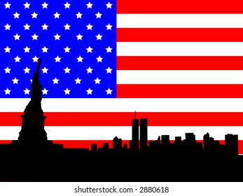 Statue of Liberty and former Lower Manhattan skyline against American flag