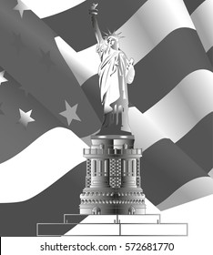 The Statue of Liberty with growing American flag on background. Grayscale vector illustration.