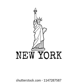 the Statue of Liberty; hand drawn line vector icon,  graphic New York symbol isolated on white.