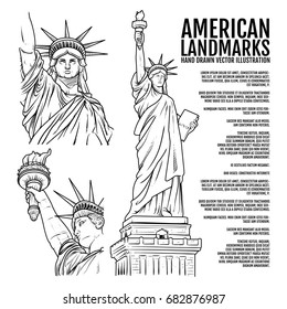 The Statue of Liberty Hand Drawn vector Illustration, American Landmarks outline, Lady Liberty