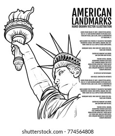 The Statue of Liberty Hand Drawn vector Illustration, American Landmarks outline, Lady Liberty on white background, doodle line
