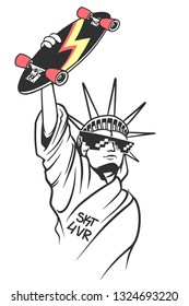 Statue of liberty holds skate in hand, Skate board typography, t-shirt graphics