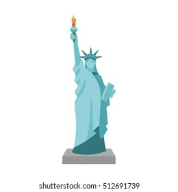 Statue of Liberty icon in cartoon style isolated on white background. USA country symbol stock vector illustration.