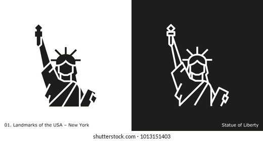 Statue of Liberty Icon - New York. Famous American landmark icon in line and glyph style.