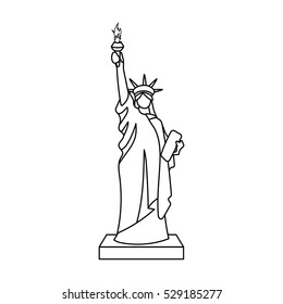 Statue of Liberty icon in outline style isolated on white background. USA country symbol stock vector illustration.