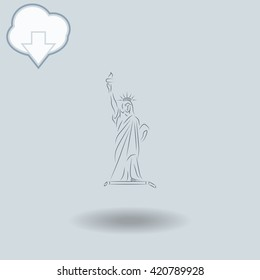 Statue Of Liberty icon with shadow. Cloud of download with arrow.