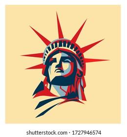 Statue Of Liberty Illustration, New York, USA. Liberty illustration pop art.