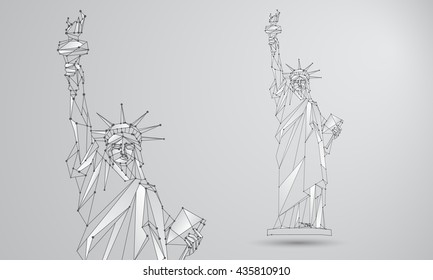 Statue of Liberty illustration. Polygonal mesh Independence Day background with a monument in New York City. Vector low poly black lines and dots.