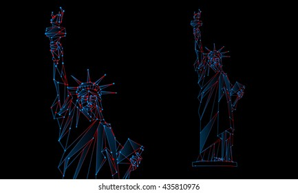 Statue of Liberty illustration. Polygonal mesh Independence Day background with a monument in New York City. Vector low poly neon blue and red lines and dots.